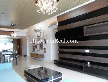 Luxurious interior 3 bedrooms apartment with city view in Saigon Pearl for rent is now included management fee.