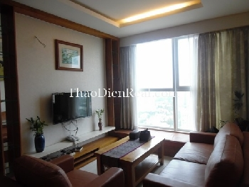 Wooden furniture apartment 3 bedrooms in River Garden Thao Dien for rent.